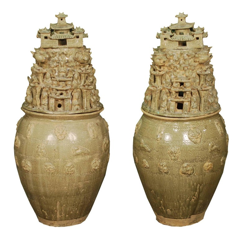 Pair of Chinese Temple Vessels For Sale