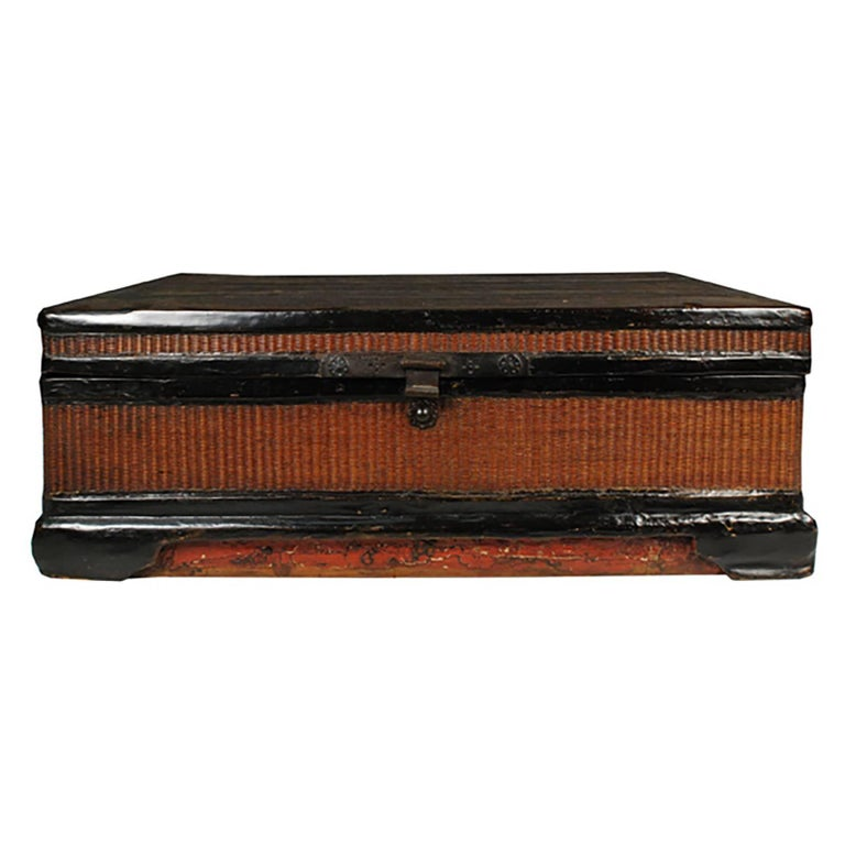 Chinese Fine Woven Lacquered Trunk For Sale