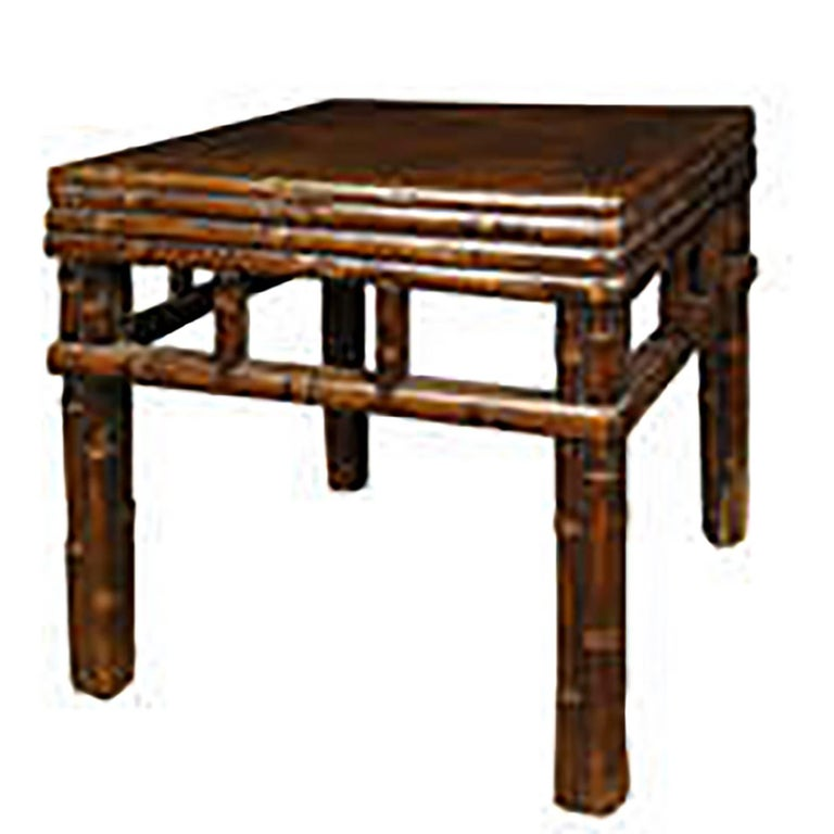 Pair of Chinese Carved Bamboo Square Stools 3