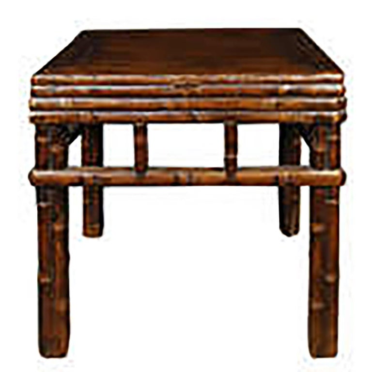 Pair of Chinese Carved Bamboo Square Stools 2