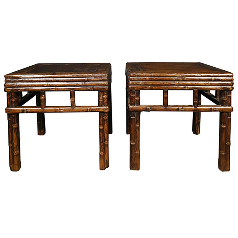 Pair of Chinese Carved Bamboo Square Stools