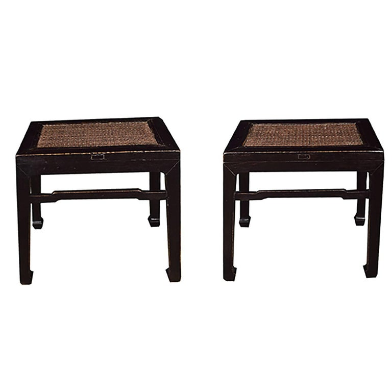 Pair of Chinese Rattan Top Black Lacquer Stools 1