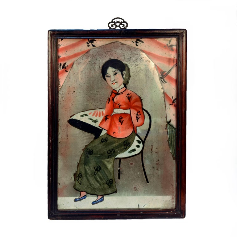 Chinese Reverse Glass Portrait Painting 1
