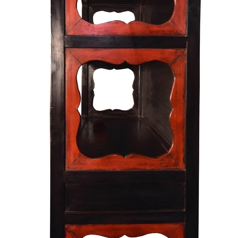 Elm 19th Century Chinese Lacquered Scholar's Shelf For Sale