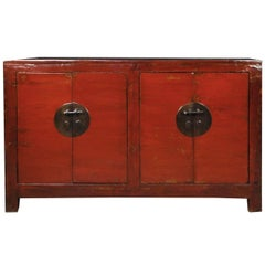 19th Century Chinese Four Door Red Lacquer Chest