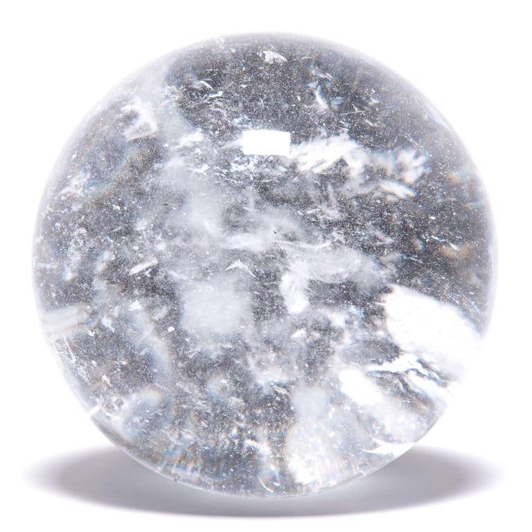 Chinese Crystal Sphere with Occlusions In Excellent Condition For Sale In Chicago, IL
