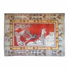 Antique Eastern Turkestan Pictorial Carpet