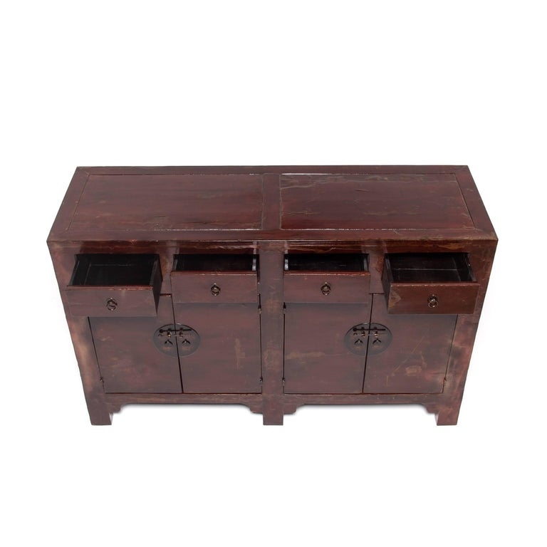 Brass Chinese Four-Door Four-Drawer Red Lacquer Cabinet For Sale