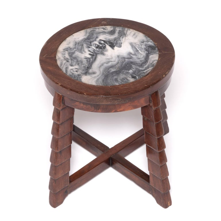 20th Century Chinese Art Deco Marble-Top Low Table For Sale