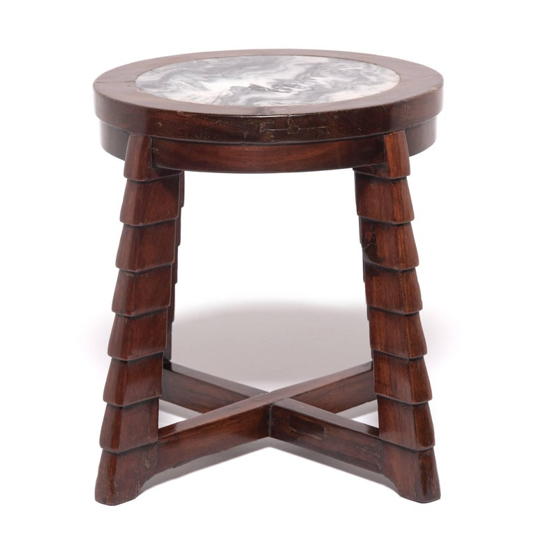 Carved Chinese Art Deco Marble-Top Low Table For Sale