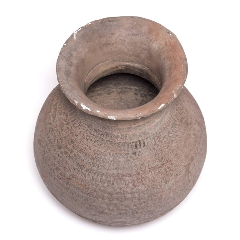 Terracotta Nigerian Nupe Incised Water Vessel For Sale