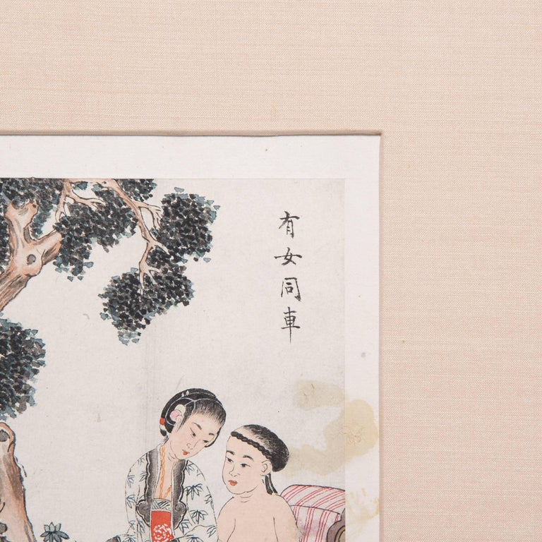 Qing Framed 19th Century Chinese Erotic Album Leaf For Sale