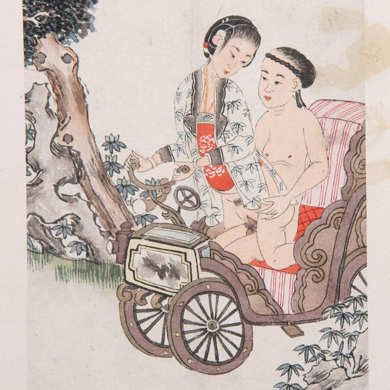 """Despite its explicit content, this intimate scene conveys a sense of tenderness and romantic love characteristic of Chinese erotic art. Known as """"spring palace paintings,"""" these ink and watercolor illustrations imagined the sensual delights of"""