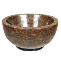 Hand-Carved Chinese Tigerman Footed Puddingstone Basin