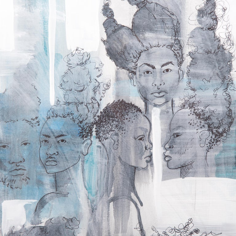 Tracy crump uses washes of grey, white and aqua to both conceal and reveal sensitively drawn figures. Each figure stands alone as an individual, possessing unique features and hairstyles, yet, as the title of the series suggests, the men and women