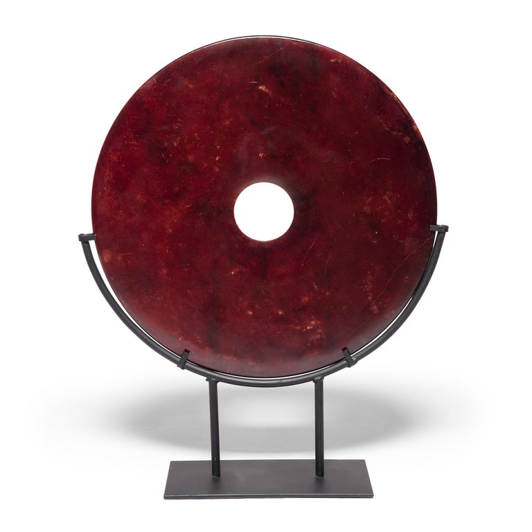 Stained Chinese Fire Jade Bi Disc For Sale