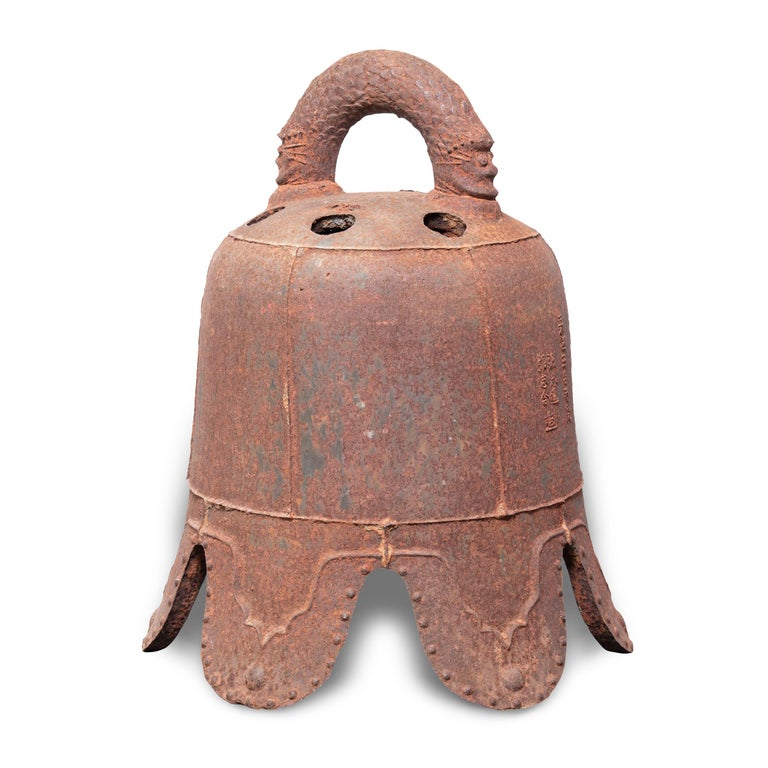 Cast Early 17th Century Chinese Ming Iron Bell with Dragon Handle For Sale