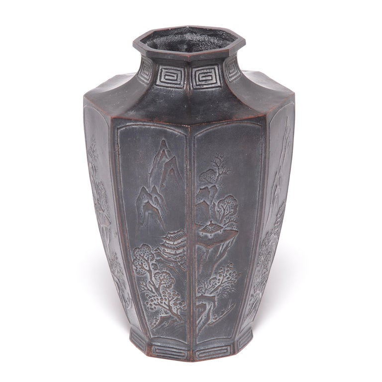 Meiji Early 20th Century Japanese Octagonal Zinc Vase For Sale