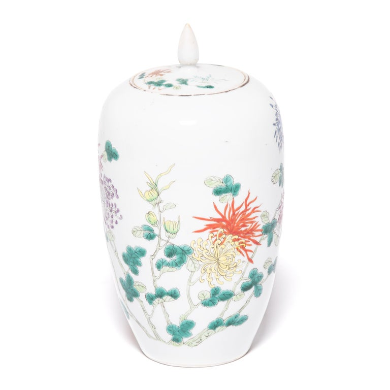 Pair of Petite Chinese Ginger Jars with Spider Chrysanthemums For Sale 1