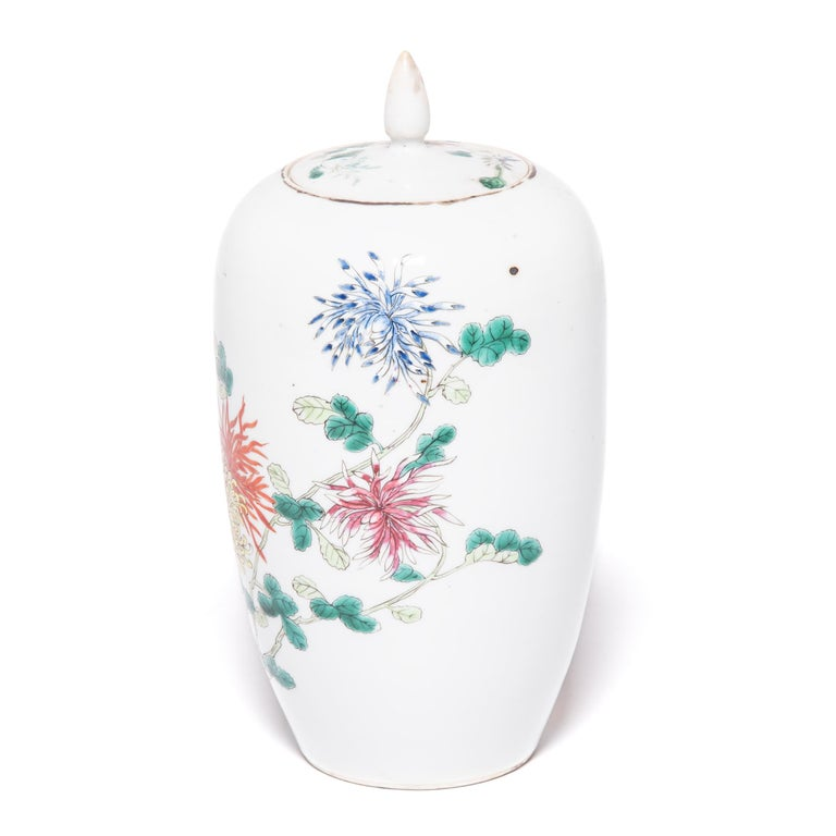 Pair of Petite Chinese Ginger Jars with Spider Chrysanthemums For Sale 2
