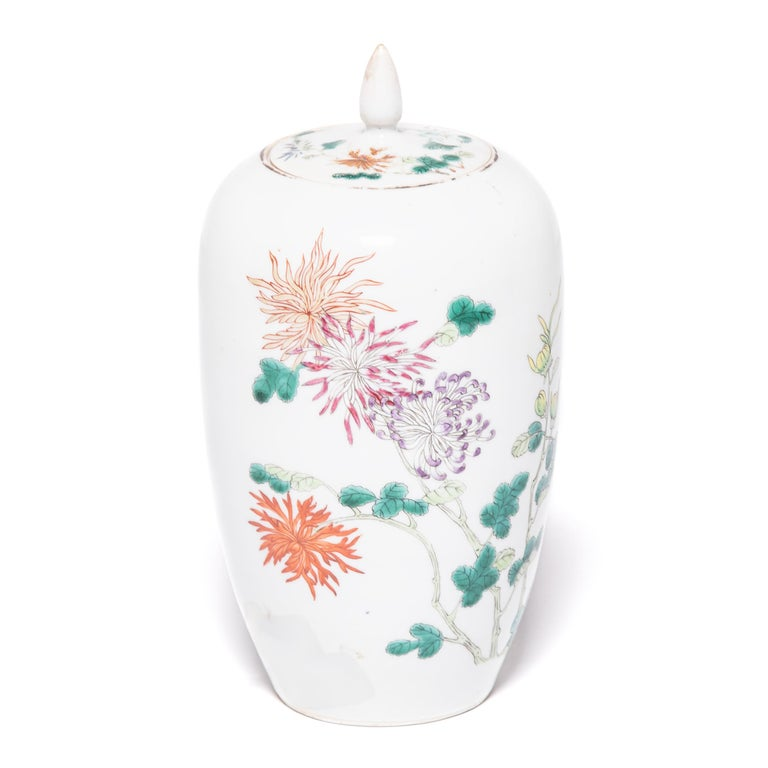 Pair of Petite Chinese Ginger Jars with Spider Chrysanthemums For Sale 4