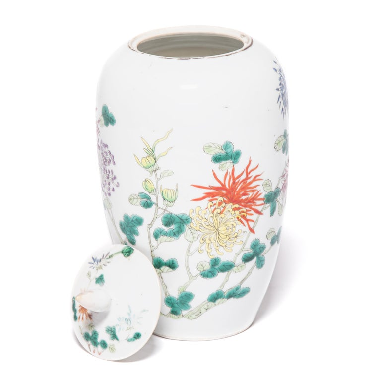 Pair of Petite Chinese Ginger Jars with Spider Chrysanthemums For Sale 5
