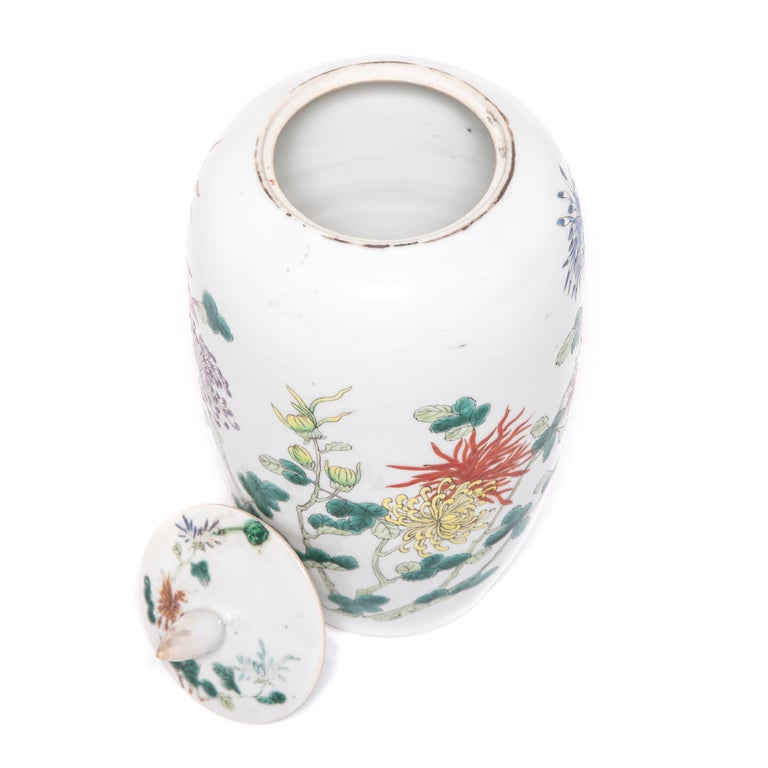 Pair of Petite Chinese Ginger Jars with Spider Chrysanthemums For Sale 6