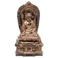 Early 20th Century Japanese Gilt Sakyamuni Buddha with Stele