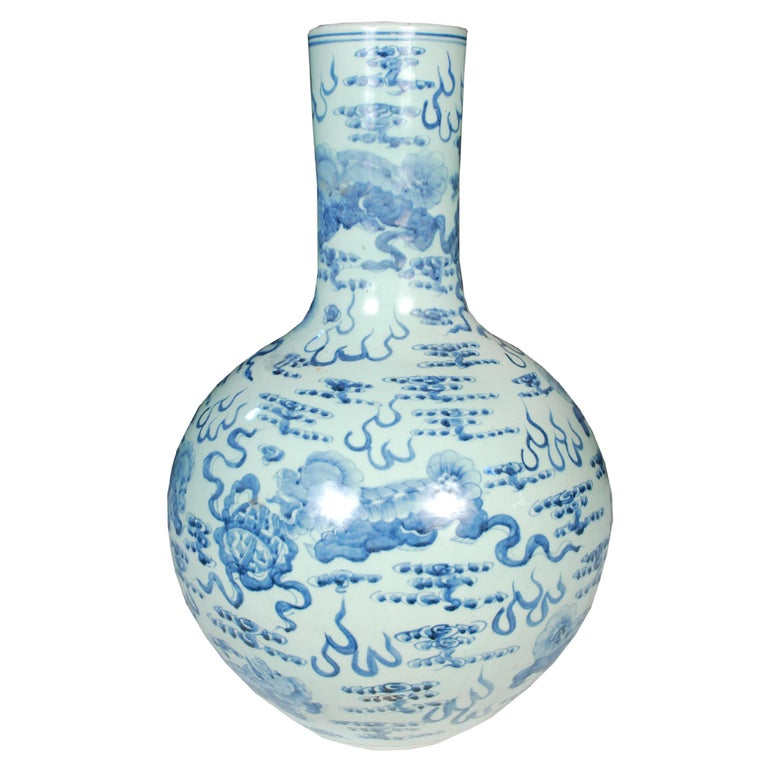 Tall Chinese Blue and White Gooseneck Vase with Fu Dogs