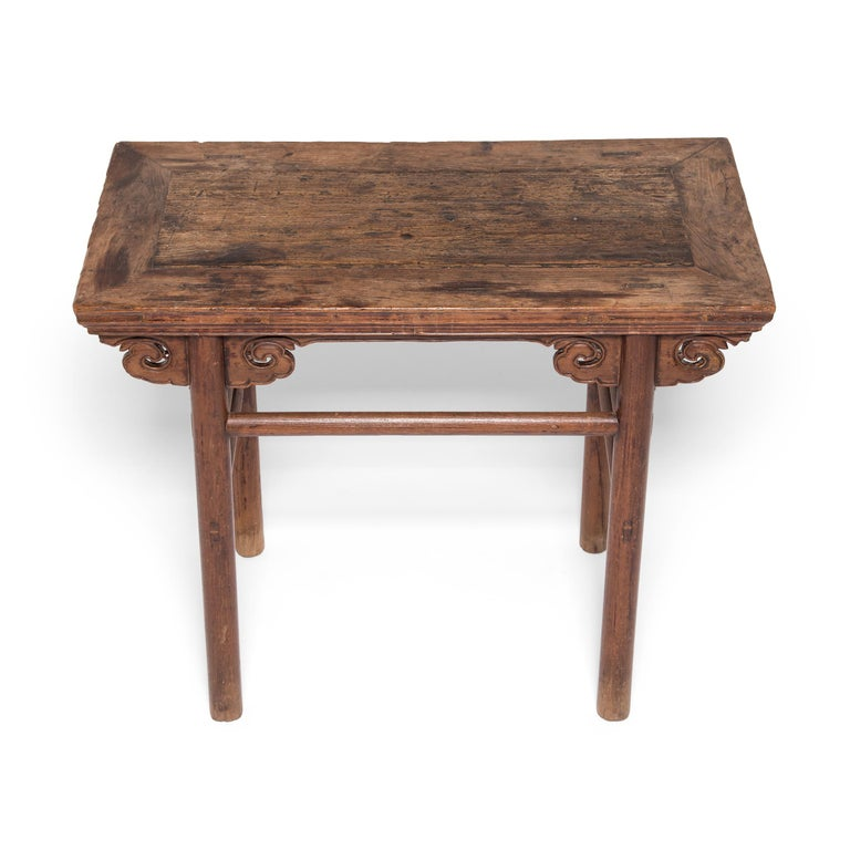 Elm 19th Century Chinese Wine Table with Cloud Spandrels For Sale