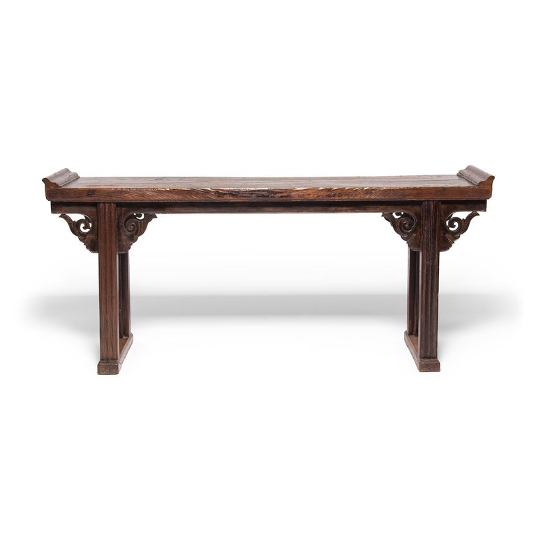 Qing Plank Top Console Table with Everted Ends For Sale