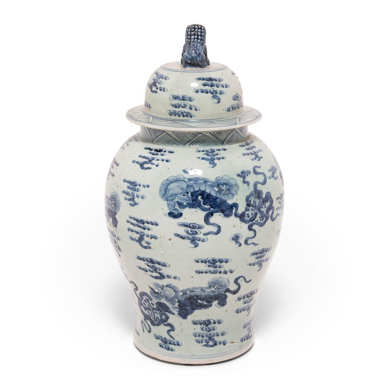 Glazed Chinese Blue and White Ginger Jar with Fu Dogs For Sale