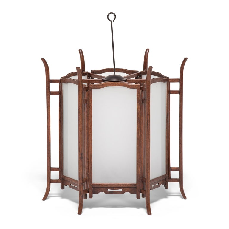Frosted Pair of 19th Century Chinese Rosewood Lanterns For Sale