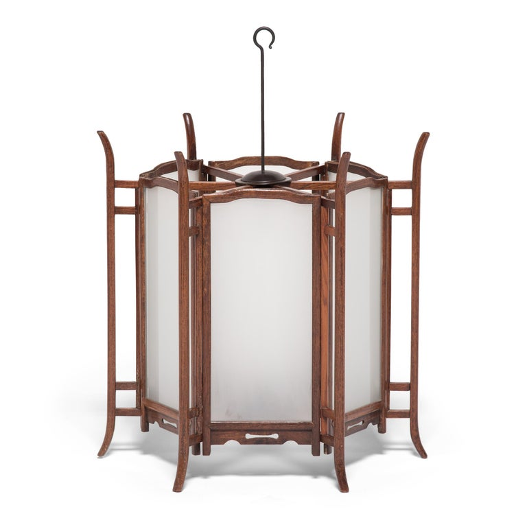 Pair of 19th Century Chinese Rosewood Lanterns In Good Condition For Sale In Chicago, IL