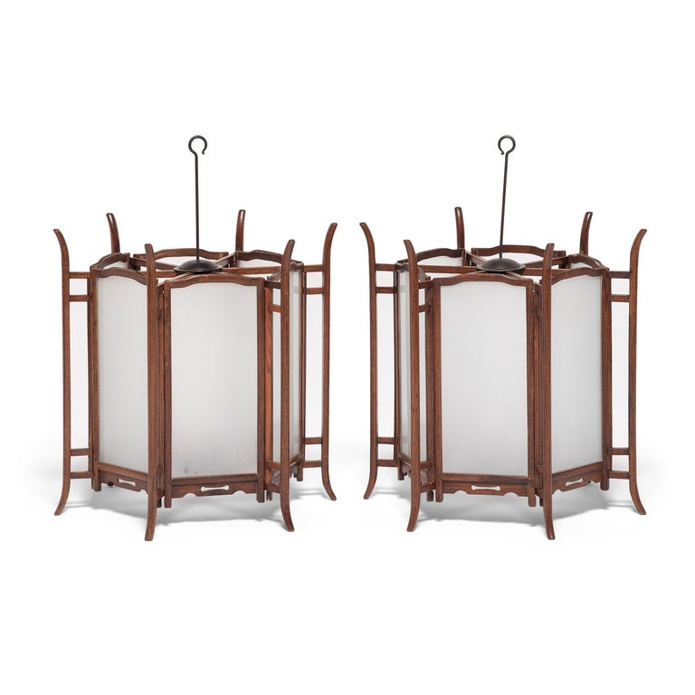 Pair of 19th Century Chinese Rosewood Lanterns For Sale