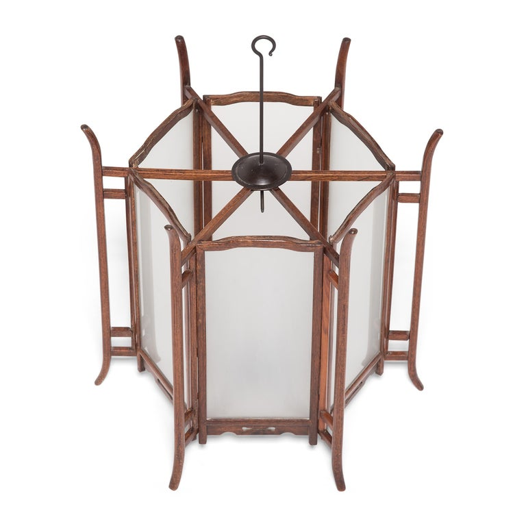 Glass Pair of 19th Century Chinese Rosewood Lanterns For Sale