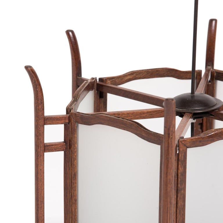 Pair of 19th Century Chinese Rosewood Lanterns For Sale 1