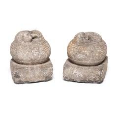 Pair of 19th Century Chinese Stone Fu Dog Finials