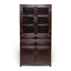 19th Century Chinese Cracked Ice Lattice Cabinet