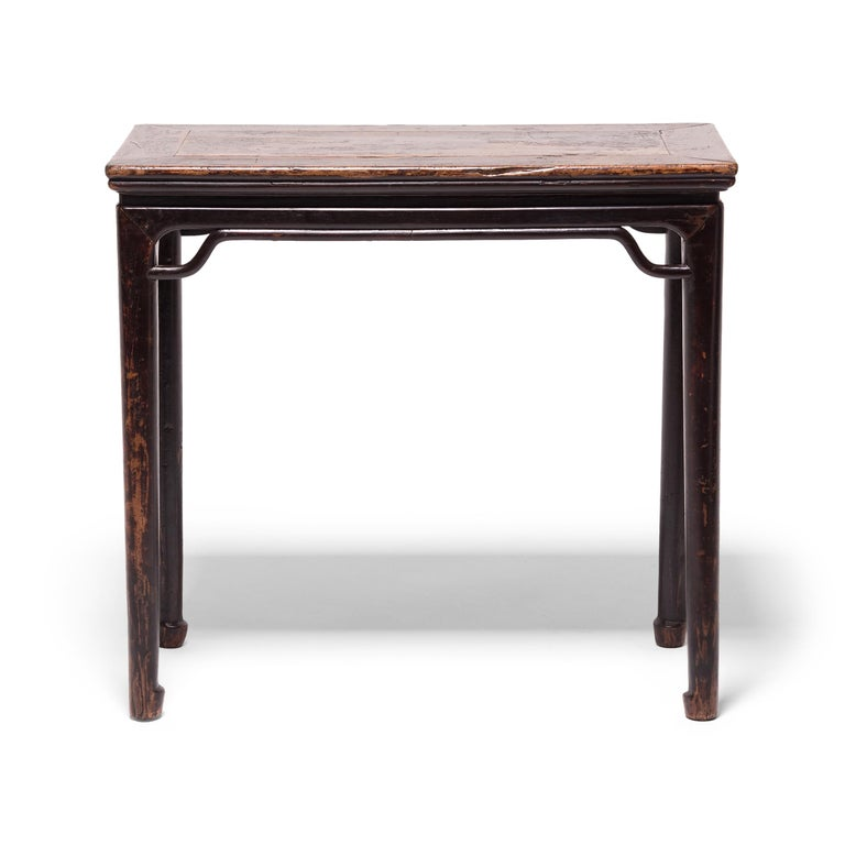Qing 19th Century Chinese Console Table with Hoofed Feet For Sale