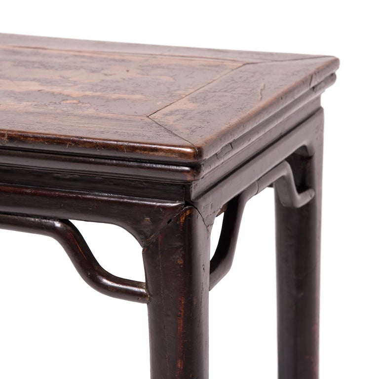 Walnut 19th Century Chinese Console Table with Hoofed Feet For Sale