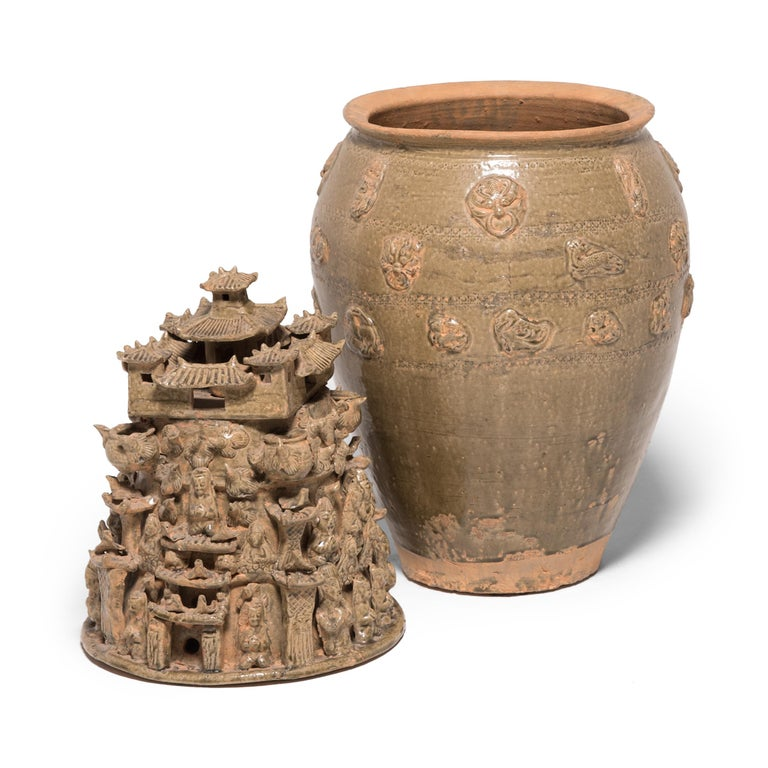 Glazed Pair of 19th Century Buddhist Temple Vessels For Sale