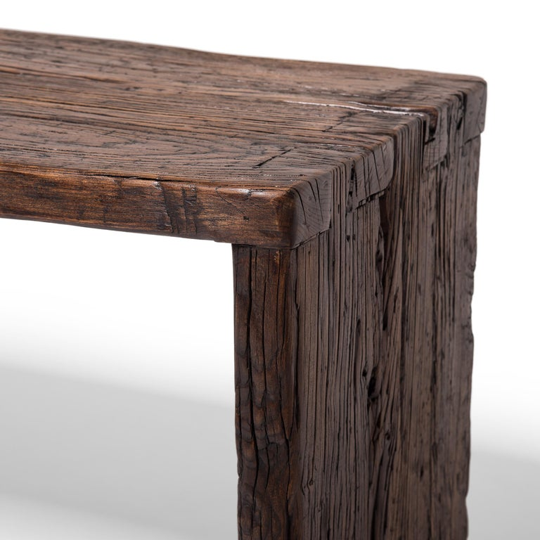 Provincial Reclaimed Chinese Elm Waterfall Console Table For Sale 1