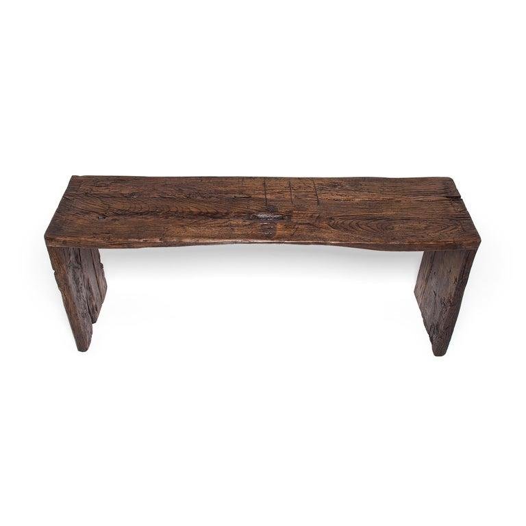 Contemporary Provincial Reclaimed Chinese Elm Waterfall Console Table For Sale