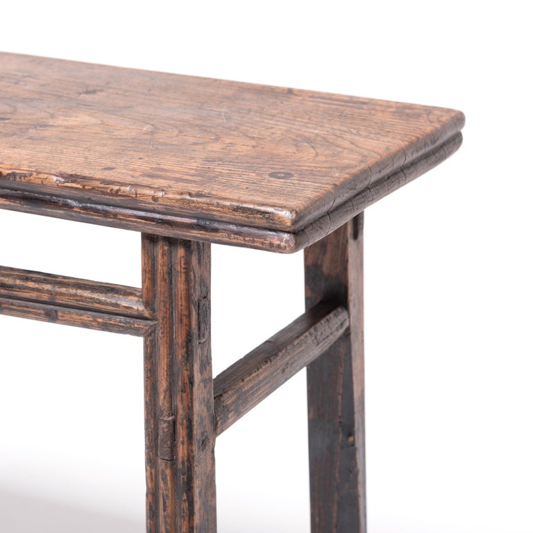 Elm Provincial Chinese Stacked Stretcher Console Table For Sale