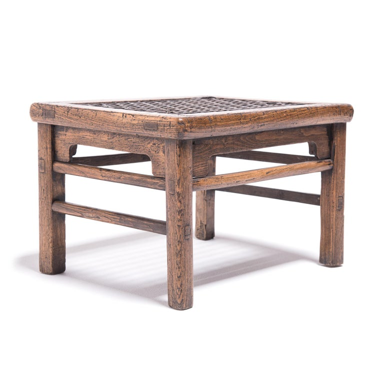 19th Century Chinese Low Stool with Woven Hide Top In Good Condition For Sale In Chicago, IL