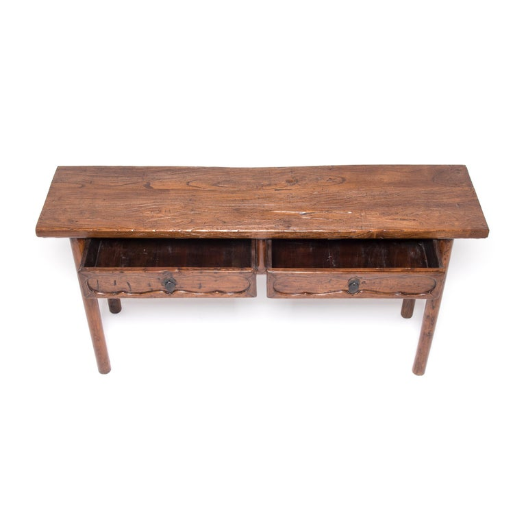 Brass 19th Century Chinese Two-Drawer Console Table For Sale