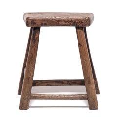 19th Century Chinese Rustic Tapered Leg Stool