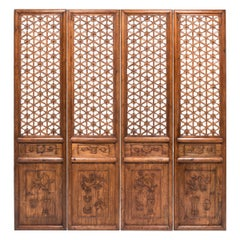 Set of Four 18th Century Chinese Floral Lattice Courtyard Panels