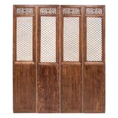 Set of Four 19th Century Chinese Quadrilobe Lattice Courtyard Panels